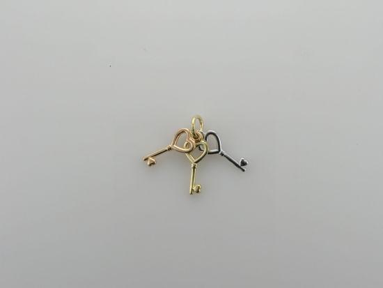 Image sur Pendentif clé en or jaune, rose et blanc