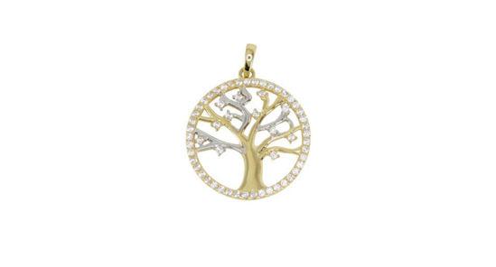 Image sur Pendentif arbre de vie en or jaune et blanc