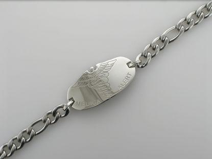 """Image de Bracelet médical Figaro 8 1/4"""" en acier inoxydable"""